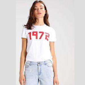 Topshop 1972 Slogan White Tee, Red Print, Petite M